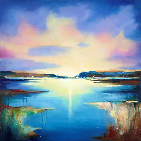 Harbour Sunset III by Anna Gammans - Original Painting on Stretched Canvas